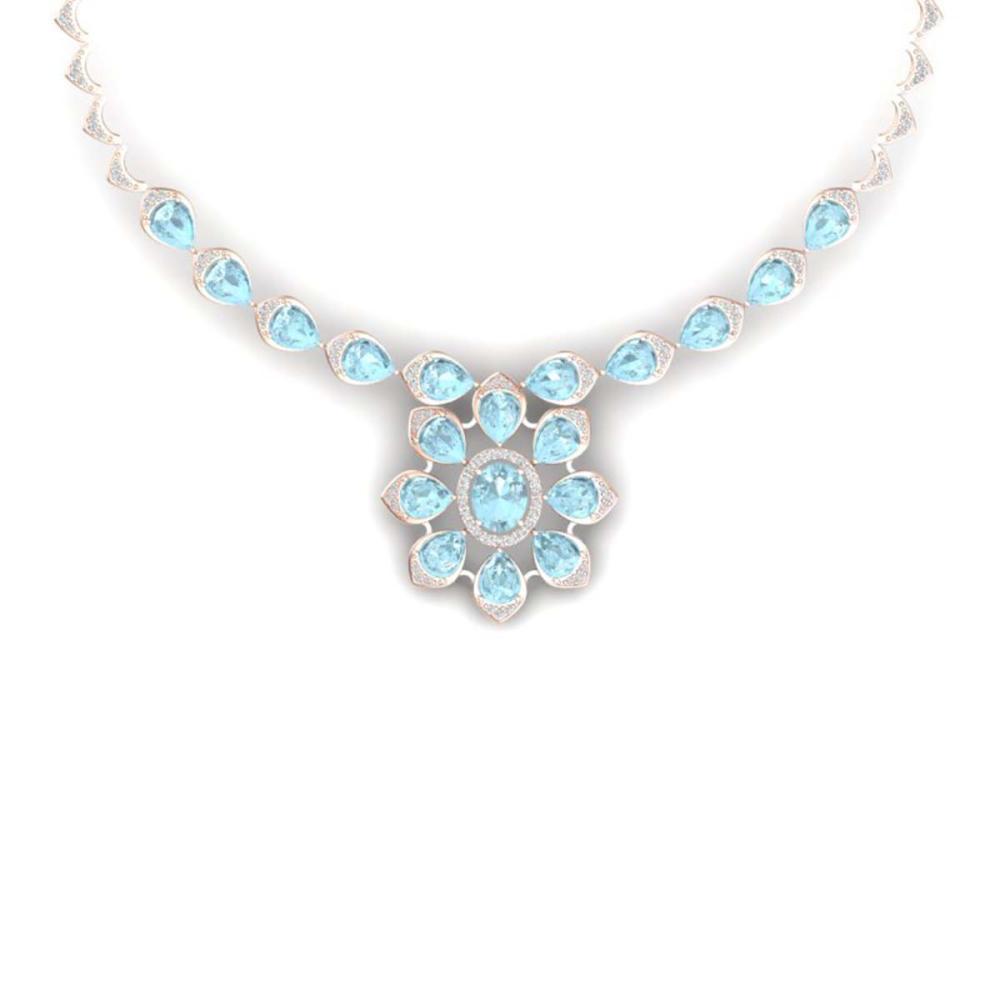 29.34 ctw Sky Topaz & VS Diamond Necklace 18K Rose Gold - REF-527M3F - SKU:39040