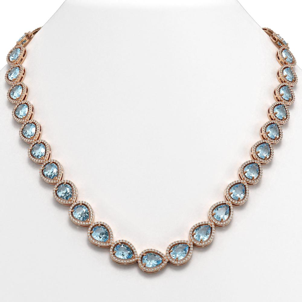 41.6 ctw Aquamarine & Diamond Halo Necklace 10K Rose Gold - REF-896R4K - SKU:41211