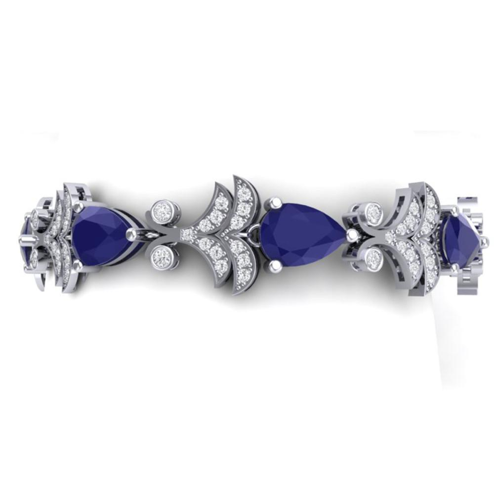 24.8 ctw Sapphire & VS Diamond Bracelet 18K White Gold - REF-436K4W - SKU:38736