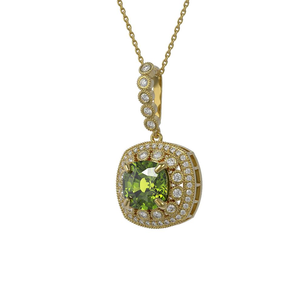 7.08 ctw Tourmaline & Diamond Necklace 14K Yellow Gold - REF-179H3M - SKU:44020