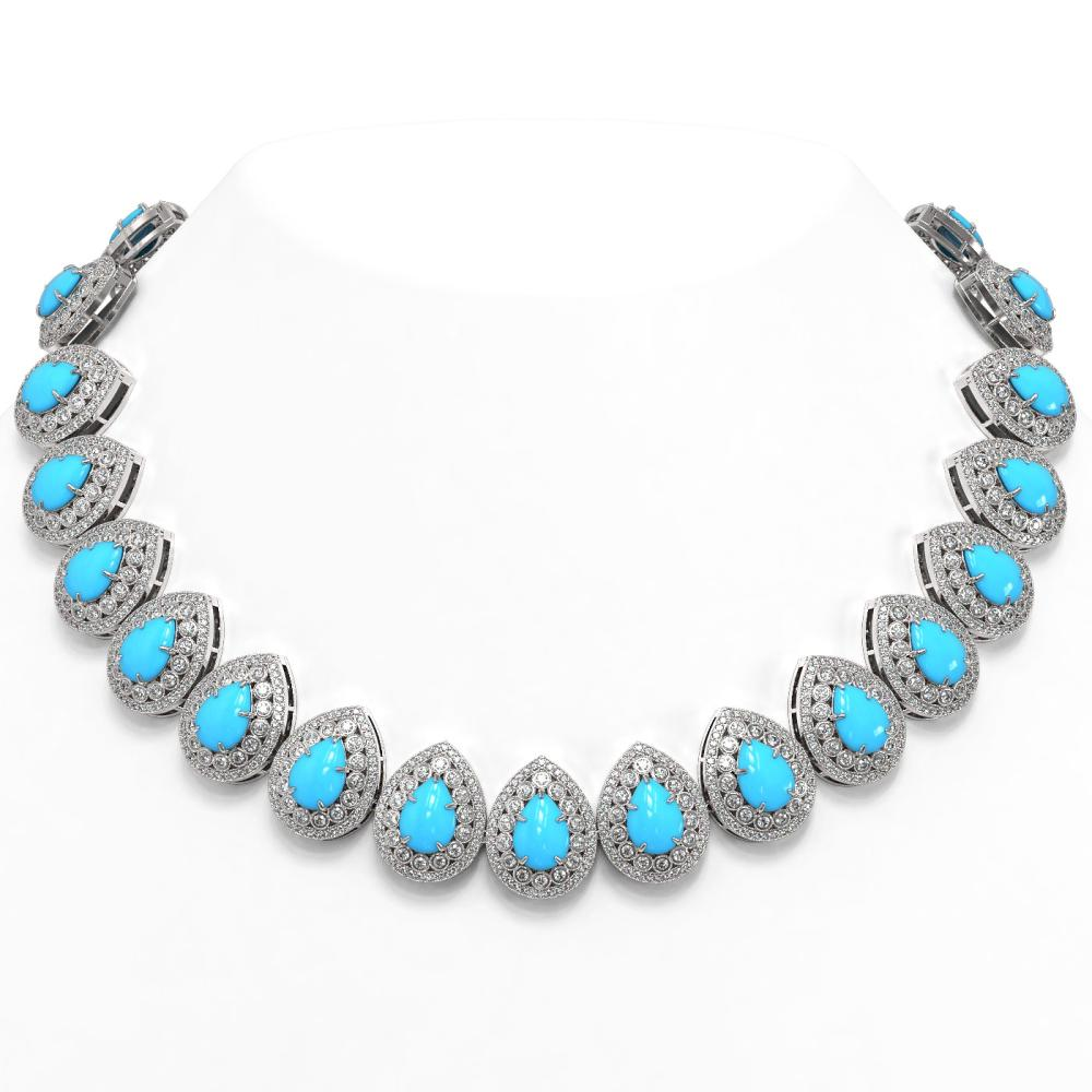 98.02 ctw Turquoise & Diamond Necklace 14K White Gold - REF-2956K9W - SKU:46164