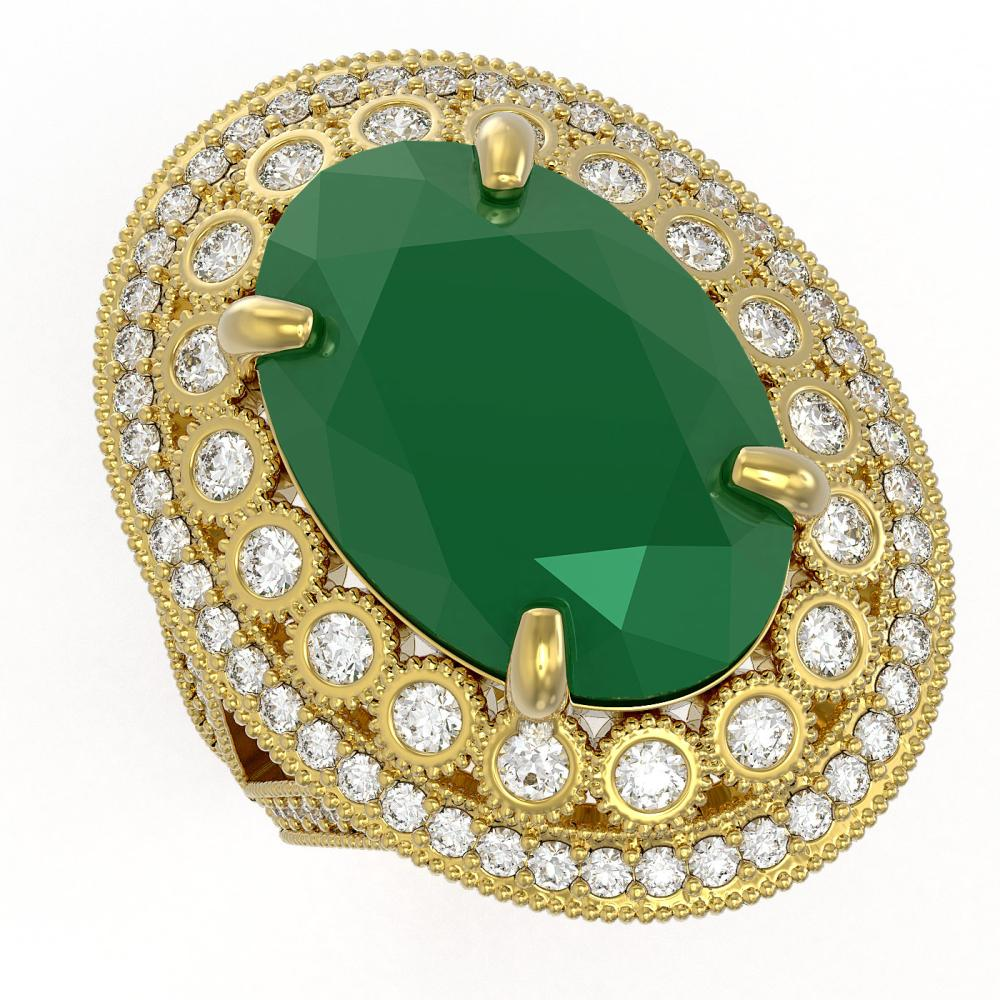 18.3 ctw Emerald & Diamond Ring 14K Yellow Gold - REF-353A6V - SKU:43876