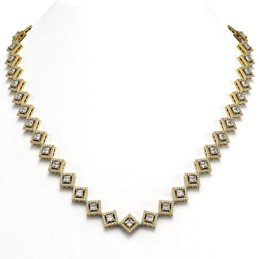 19.27 ctw Princess Diamond Necklace 18K Yellow Gold - REF-1598M3F - SKU:43093