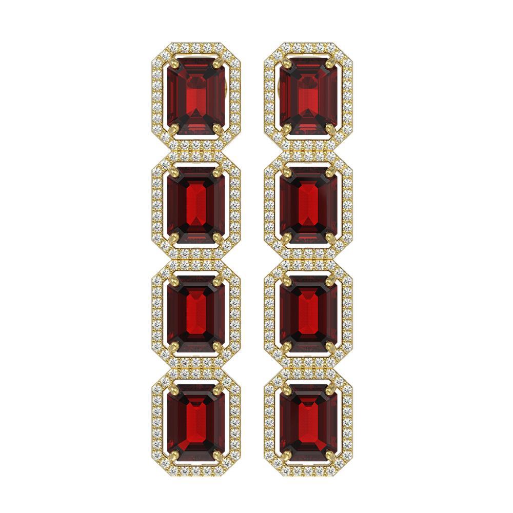 17.8 ctw Garnet & Diamond Halo Earrings 10K Yellow Gold - REF-174A2V - SKU:41617