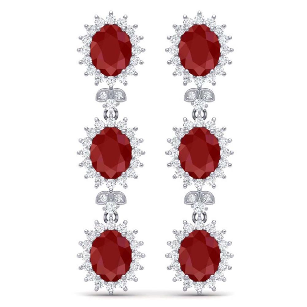 24.52 ctw Ruby & VS Diamond Earrings 18K White Gold - REF-436H4M - SKU:38640