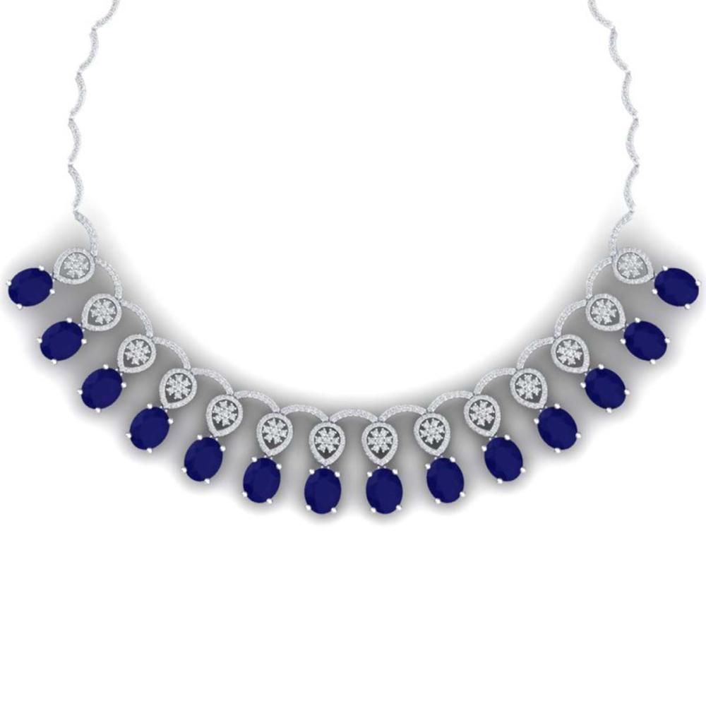 54.05 ctw Sapphire & VS Diamond Necklace 18K White Gold - REF-1054W5H - SKU:39066