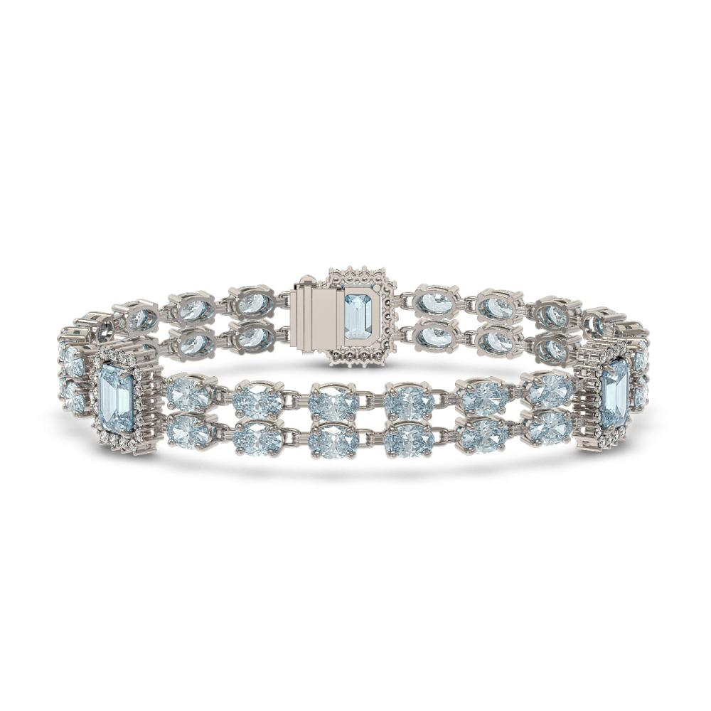 22.9 ctw Aquamarine & Diamond Bracelet 14K White Gold - REF-355M8F - SKU:45161