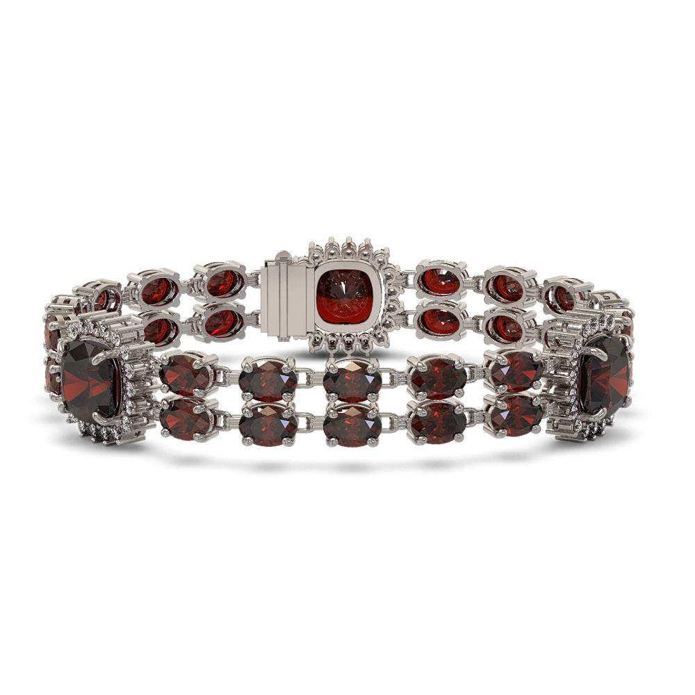 39.63 ctw Garnet & Diamond Bracelet 14K White Gold - REF-286A7V - SKU:44897