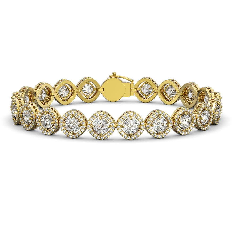 15.58 ctw Cushion Diamond Bracelet 18K Yellow Gold - REF-2165A9V - SKU:42862
