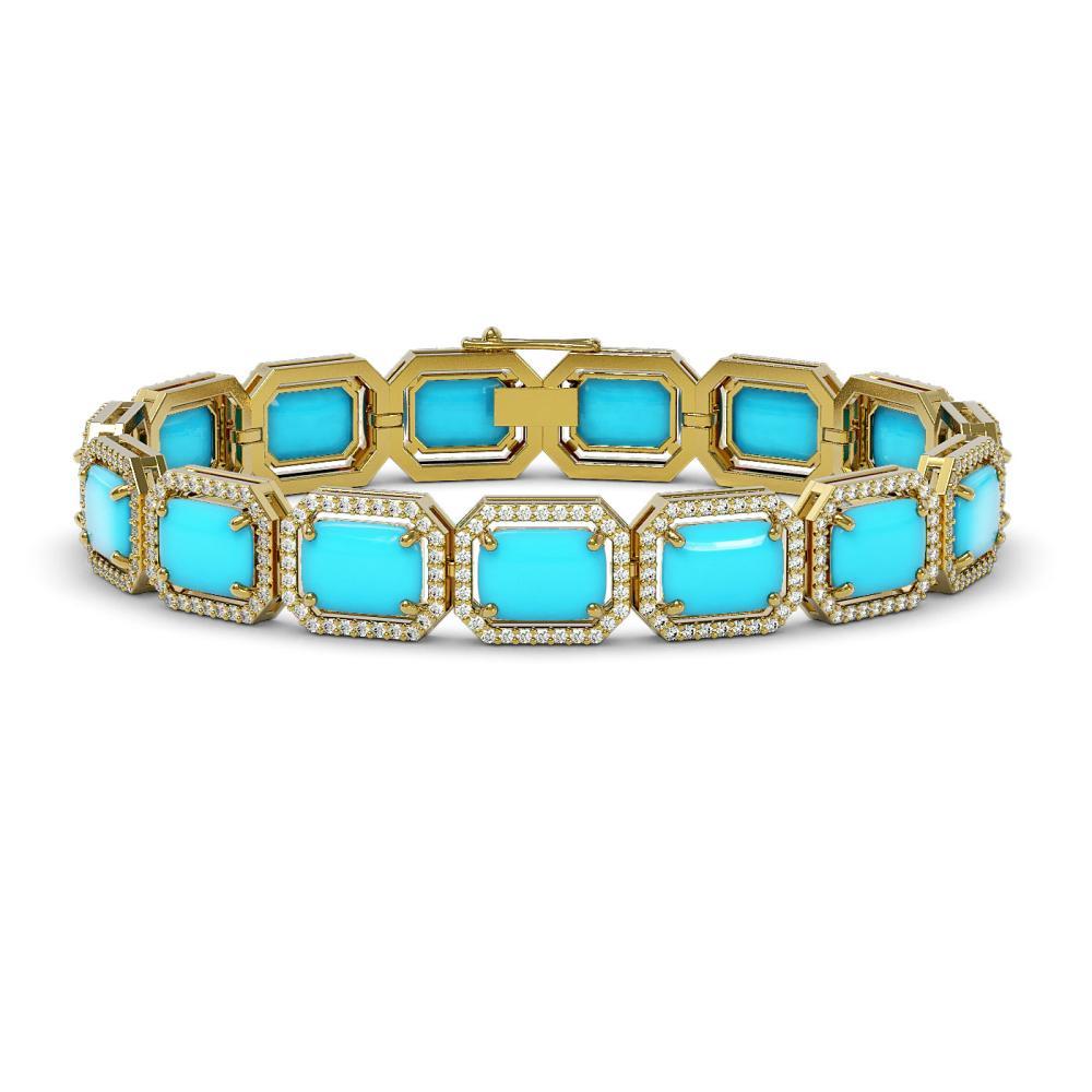 28.806 ctw Turquoise & Diamond Halo Bracelet 10K Yellow Gold - REF-314W9H - SKU:46082