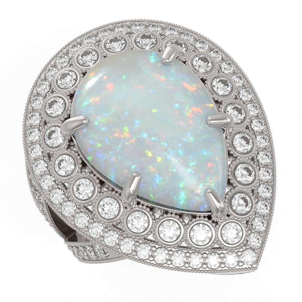11.19 ctw Opal & Diamond Ring 14K White Gold - REF-333N6A - SKU:43295