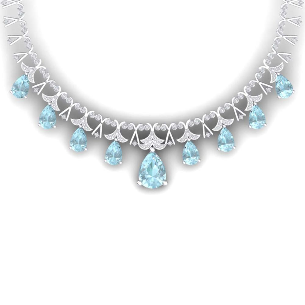 60.62 ctw Sky Topaz & VS Diamond Necklace 18K White Gold - REF-945K5W - SKU:38709