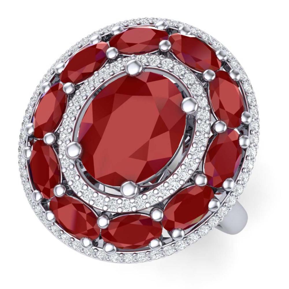 8.05 ctw Ruby & VS Diamond Ring 18K White Gold - REF-153A6V - SKU:39240