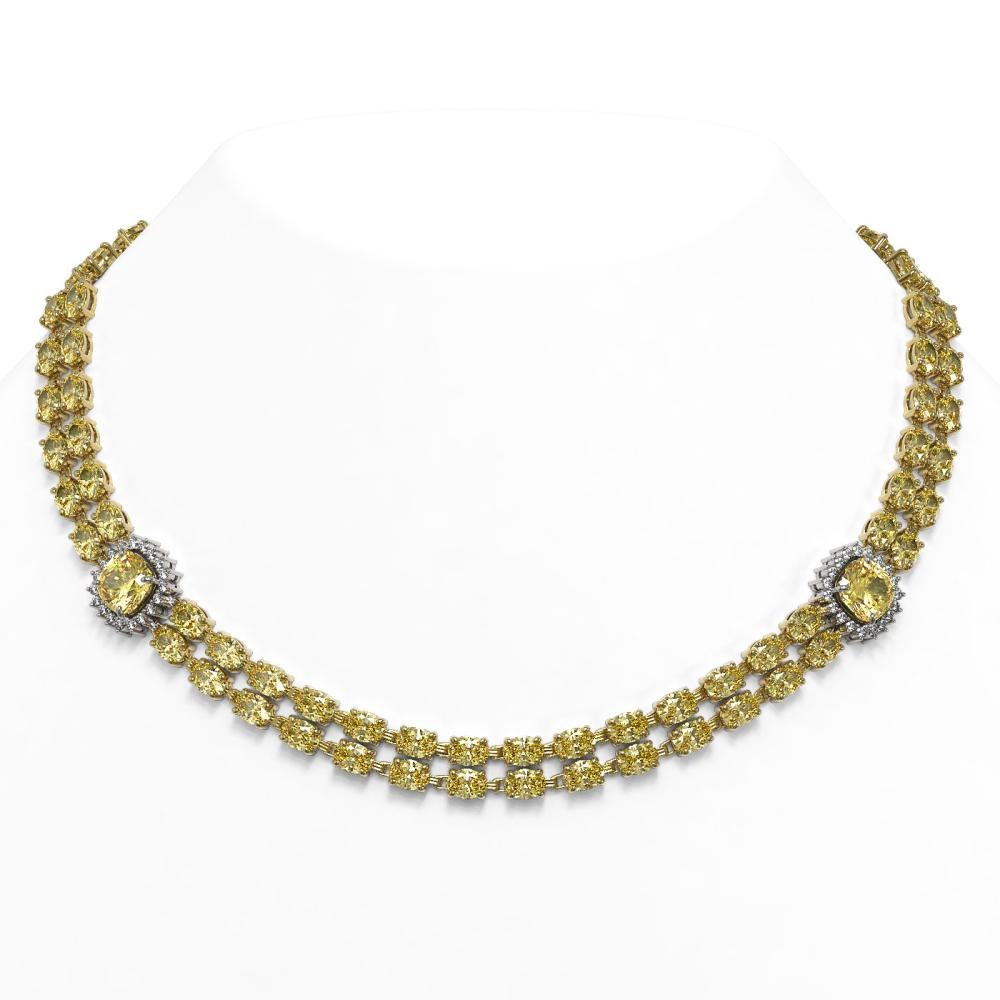 64.13 ctw Citrine & Diamond Necklace 14K Yellow Gold - REF-470X4R - SKU:44839