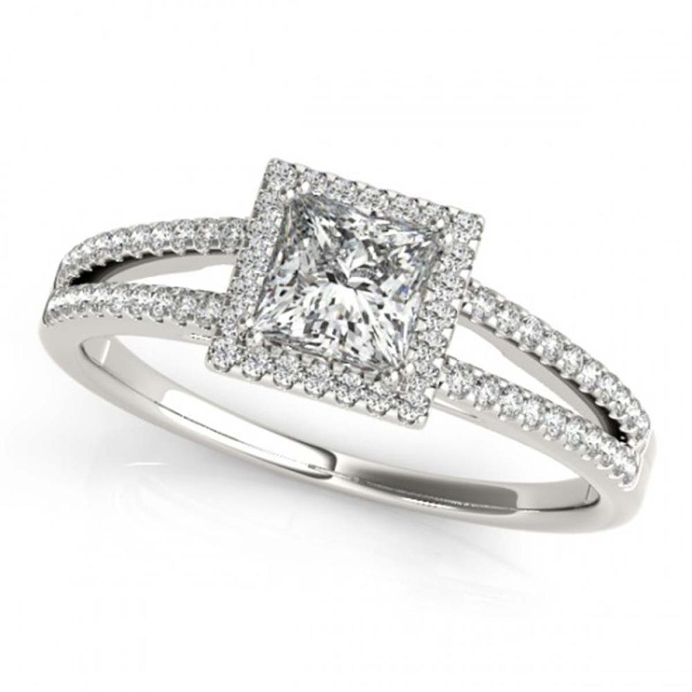 0.85 ctw VS/SI Princess Diamond Halo Ring 18K White Gold - REF-104F9N - SKU:27147