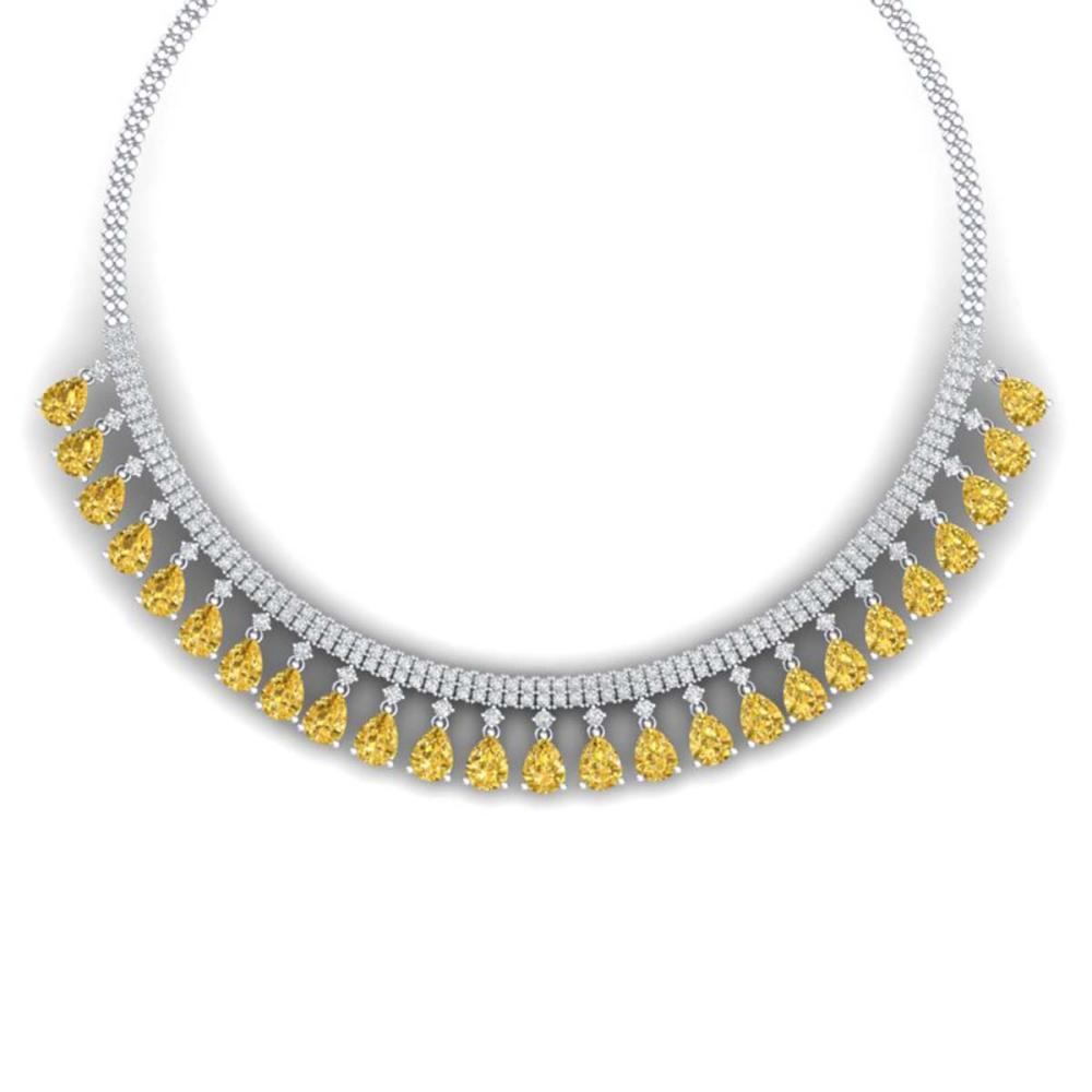 39.66 ctw Canary Citrine & VS Diamond Necklace 18K White Gold - REF-854F5N - SKU:38883