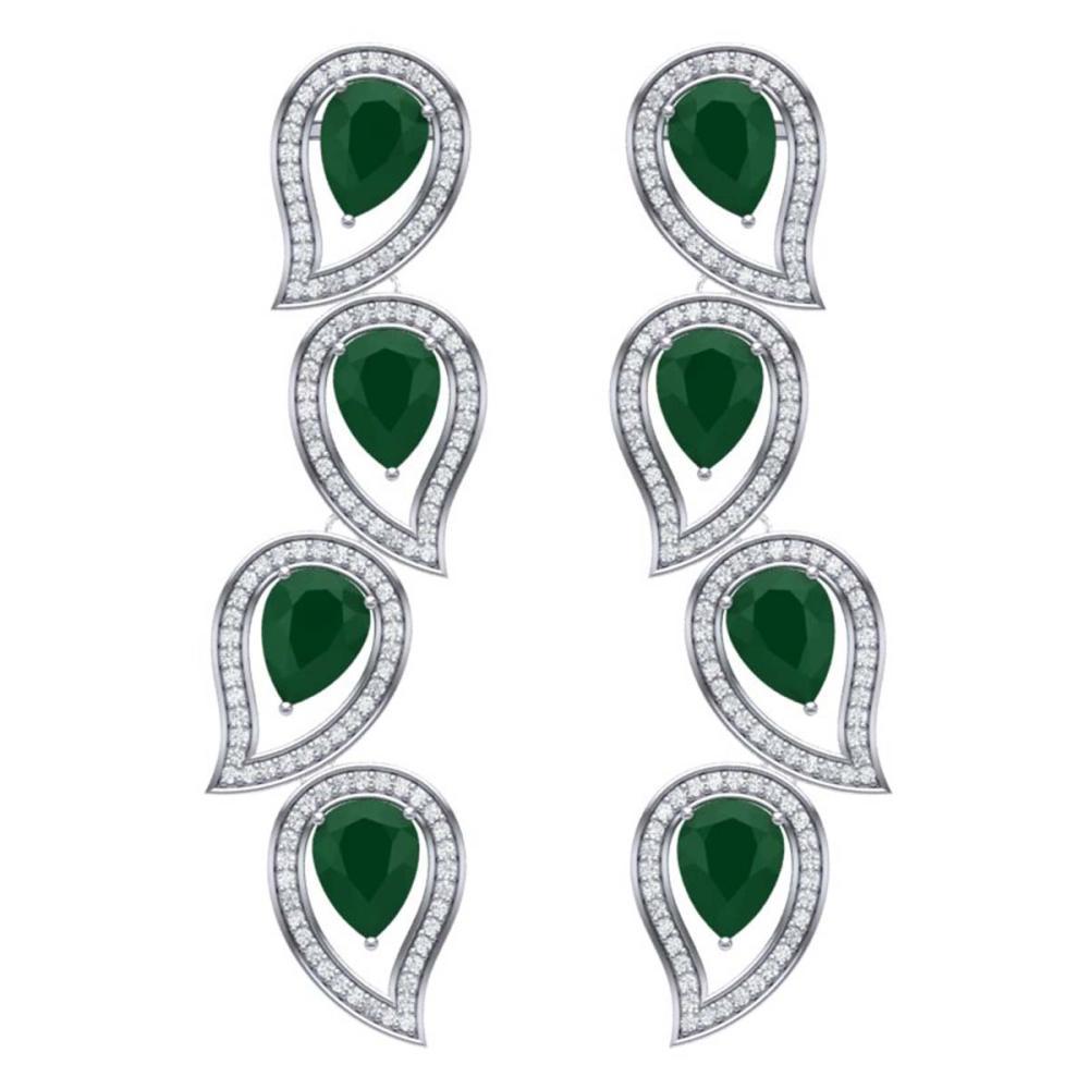 16.44 ctw Emerald & VS Diamond Earrings 18K White Gold - REF-385F5N - SKU:39450