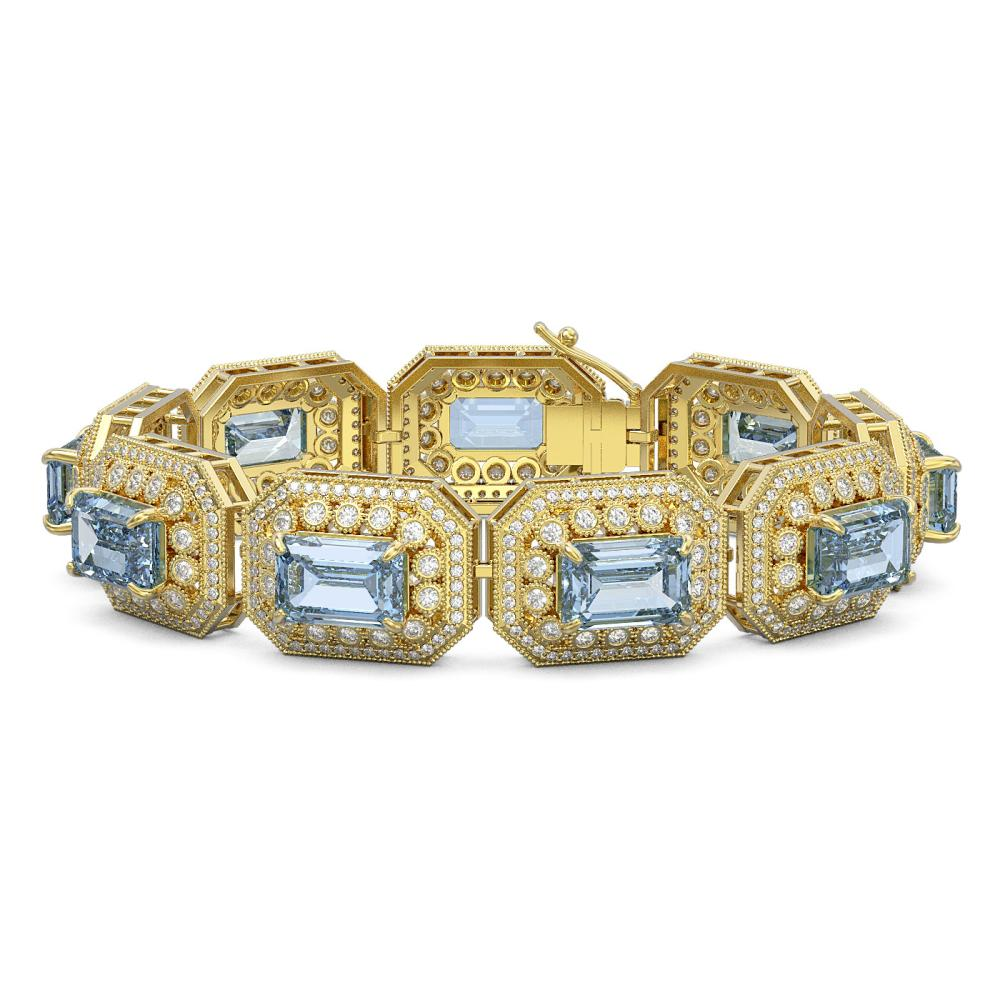 49.14 ctw Aquamarine & Diamond Bracelet 14K Yellow Gold - REF-1361R5K - SKU:43498