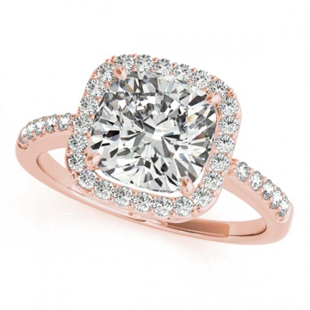 0.60 ctw VS/SI Cushion Diamond Halo Ring 18K Rose Gold - REF-66R8K - SKU:27112