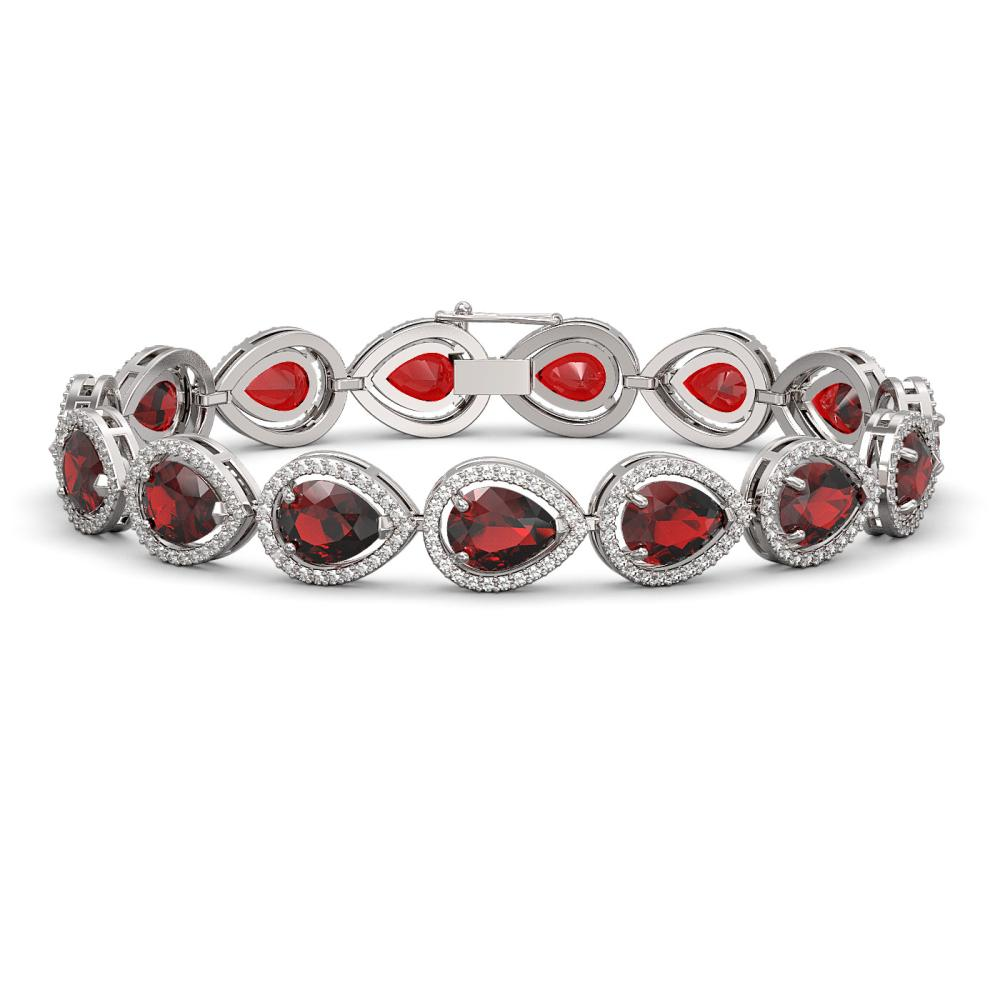 17.45 ctw Garnet & Diamond Halo Bracelet 10K White Gold - REF-283F5N - SKU:41279