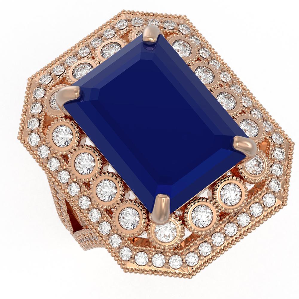 16.44 ctw Sapphire & Diamond Ring 14K Rose Gold - REF-314Y5X - SKU:43551