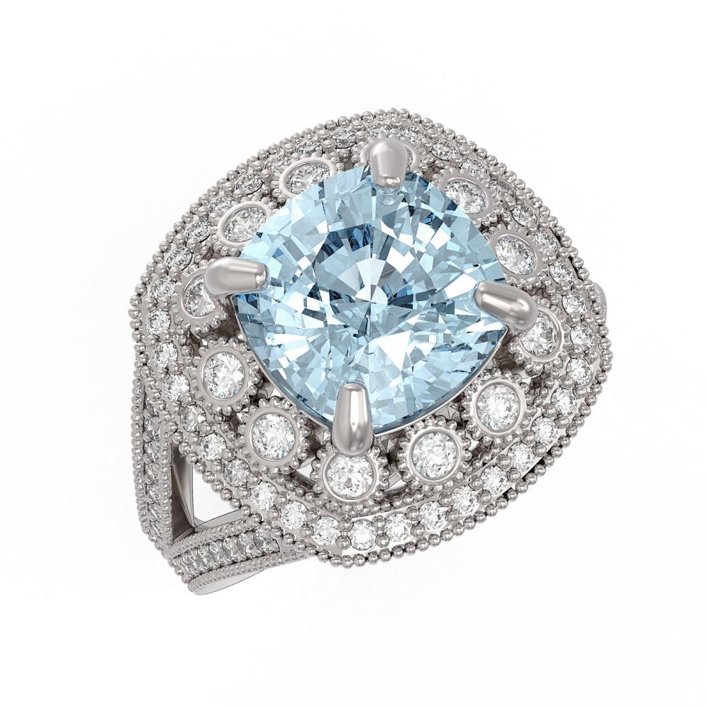 5.27 ctw Aquamarine & Diamond Ring 14K White Gold - REF-165F3N - SKU:43940