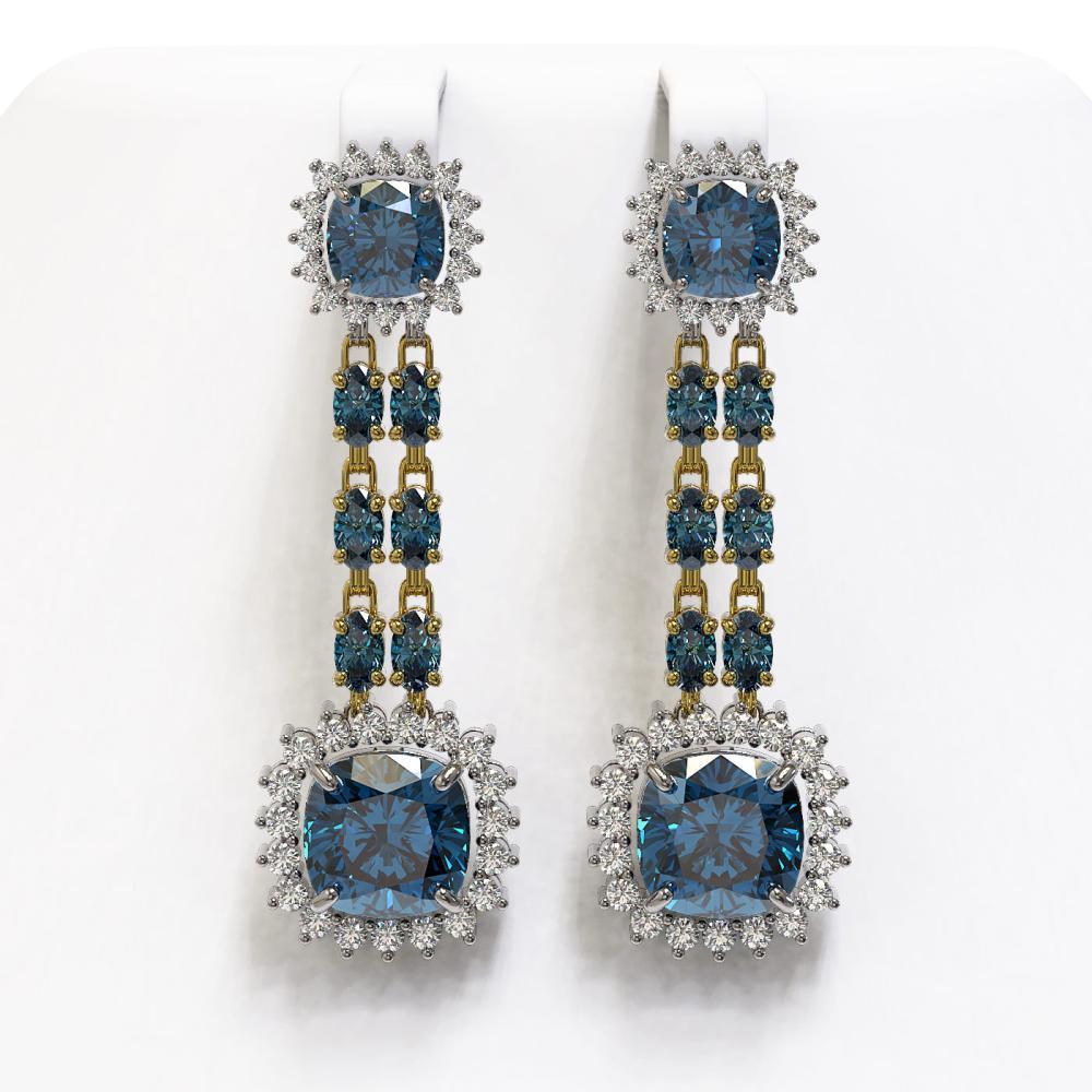 20.04 ctw London Topaz & Diamond Earrings 14K Yellow Gold - REF-239H8M - SKU:44947