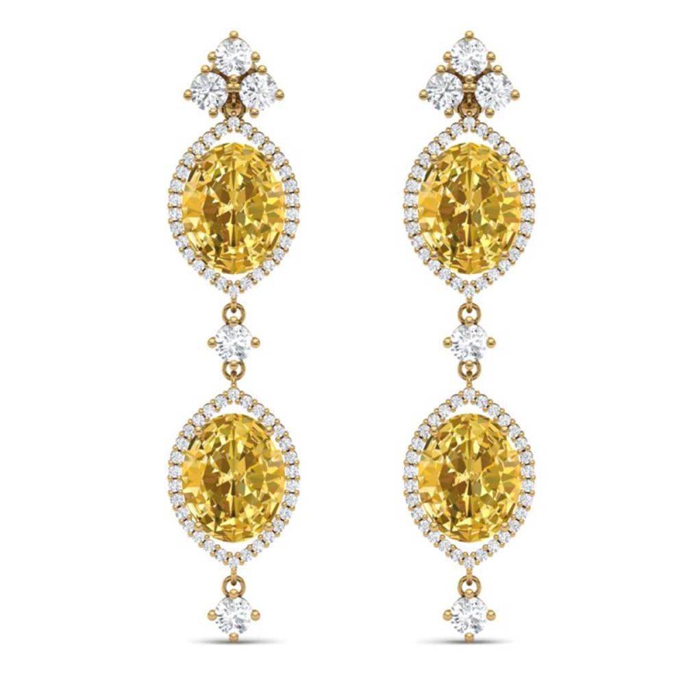 12.21 ctw Canary Citrine & VS Diamond Earrings 18K Yellow Gold - REF-254X5R - SKU:38921