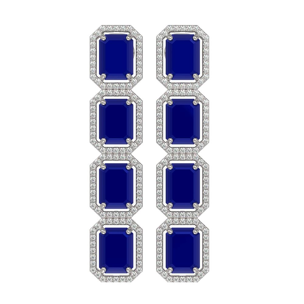 20.59 ctw Sapphire & Diamond Halo Earrings 10K White Gold - REF-213M8F - SKU:41576