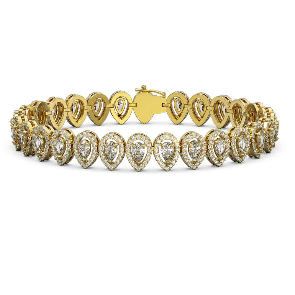 12.2 ctw Pear Diamond Bracelet 18K Yellow Gold - REF-1025R7K - SKU:43078