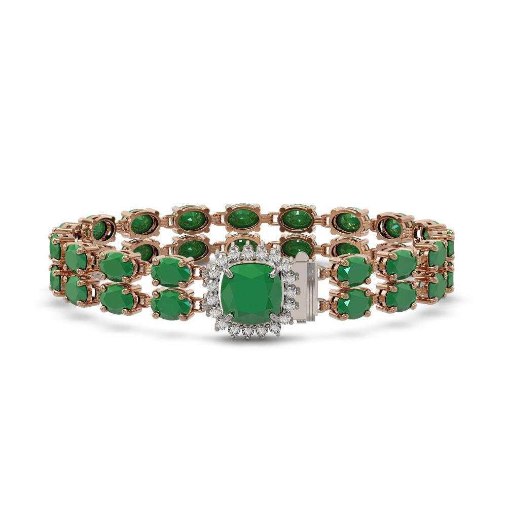32.18 ctw Emerald & Diamond Bracelet 14K Rose Gold - REF-276F2N - SKU:45651