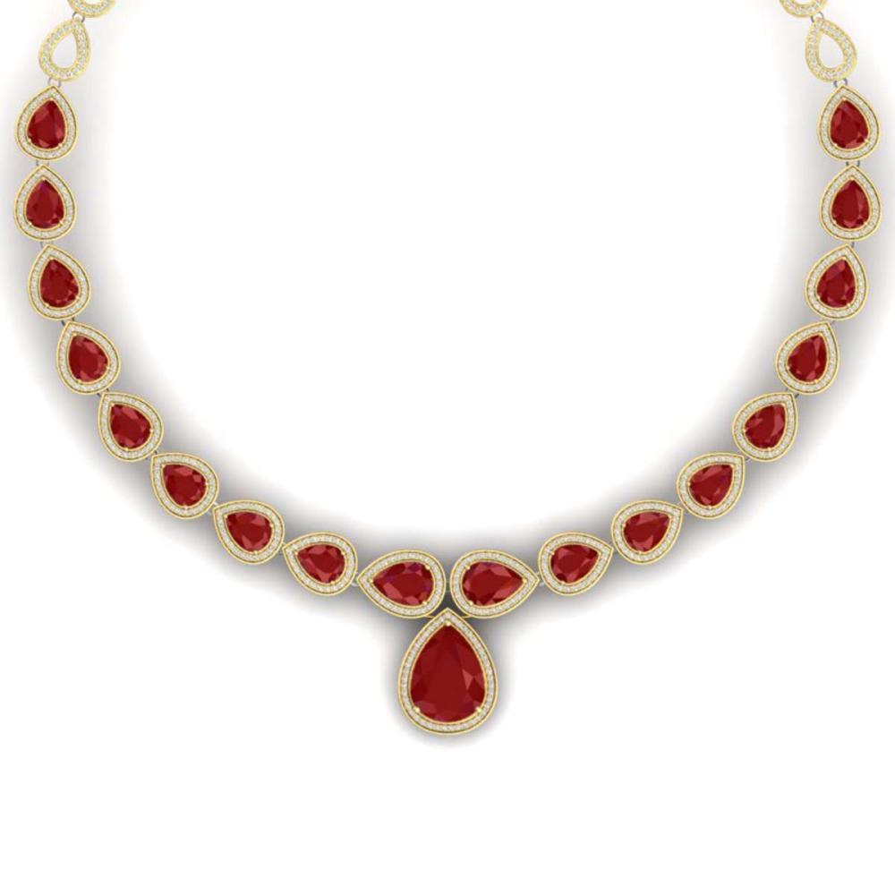 51.41 ctw Ruby & VS Diamond Necklace 18K Yellow Gold - REF-1018H2M - SKU:39425