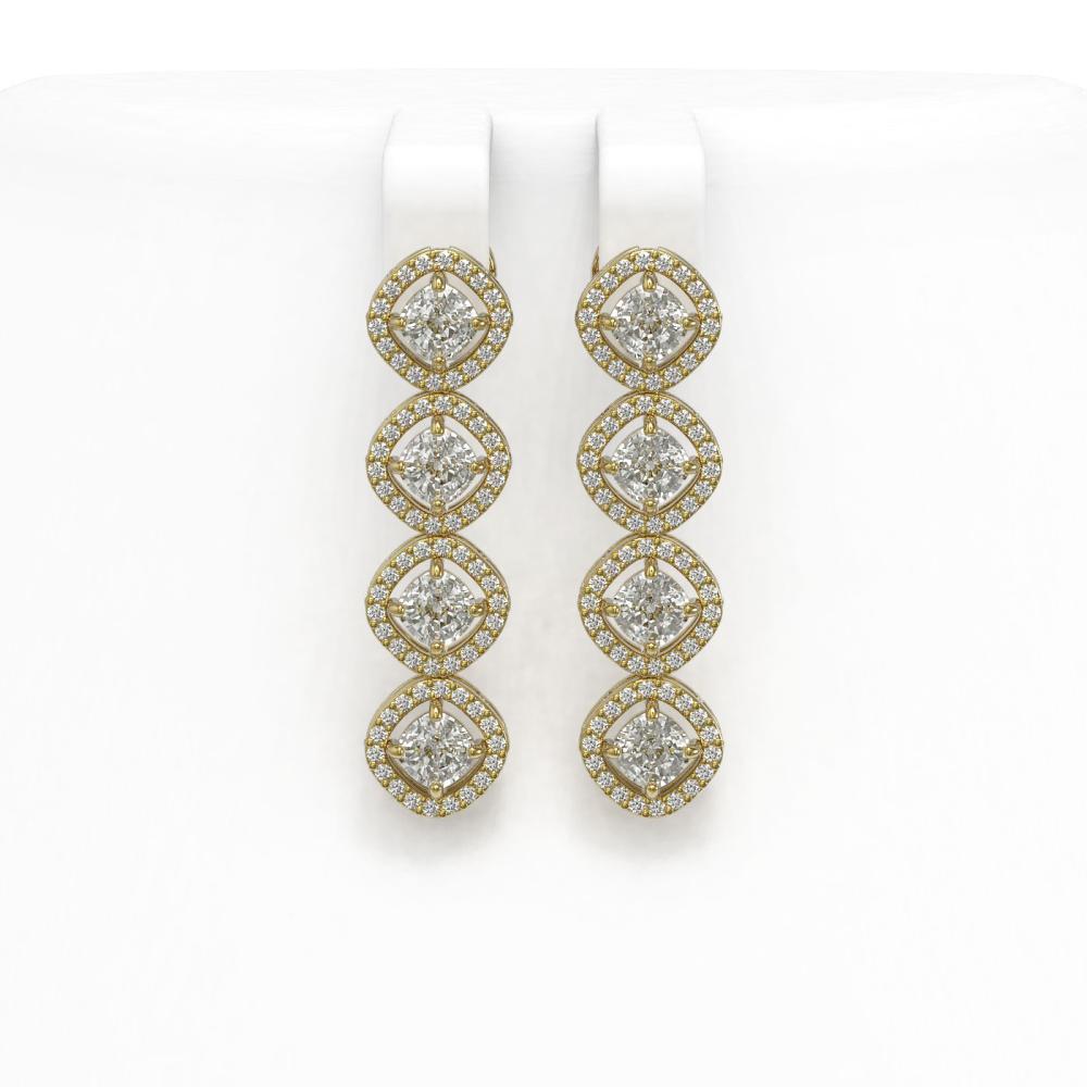 4.52 ctw Cushion Diamond Earrings 18K Yellow Gold - REF-384W5H - SKU:43108