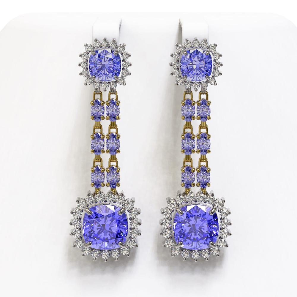 20.06 ctw Tanzanite & Diamond Earrings 14K Yellow Gold - REF-469V6Y - SKU:44920