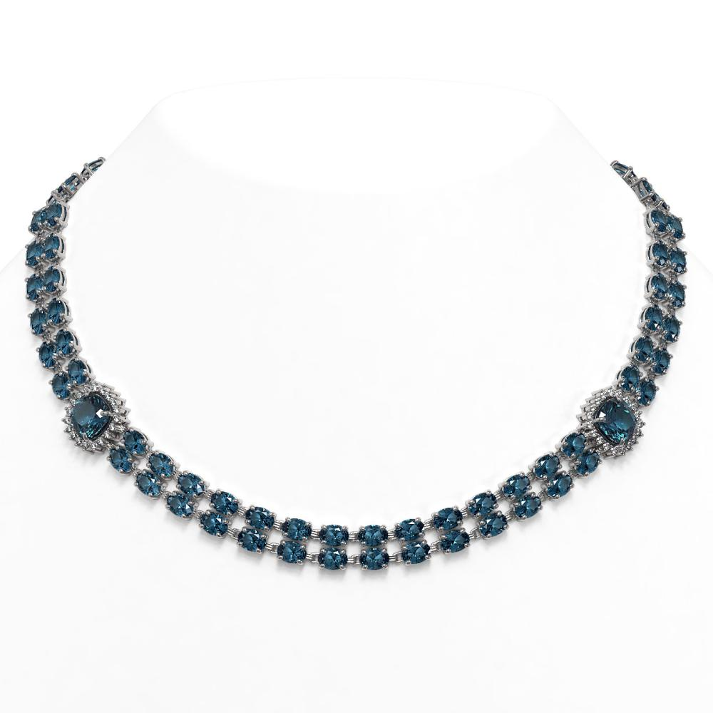 72.67 ctw London Topaz & Diamond Necklace 14K White Gold - REF-496X9R - SKU:44831