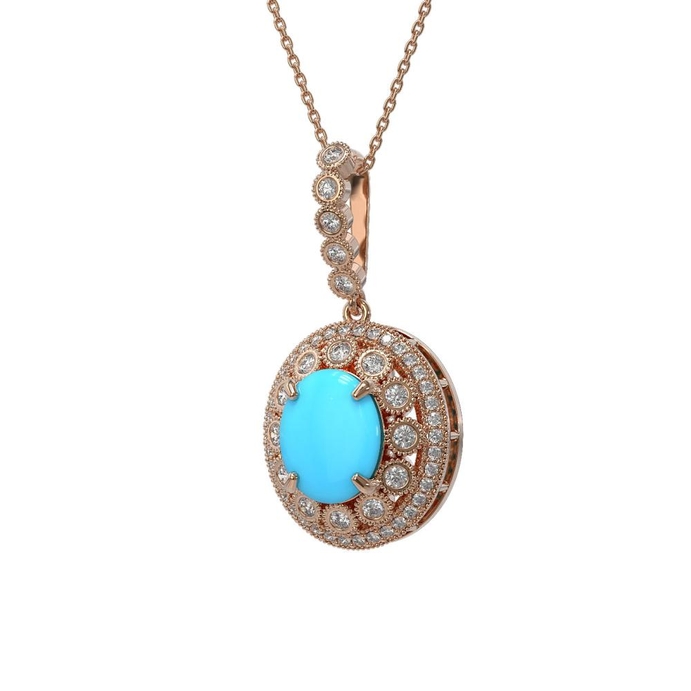4.81 ctw Turquoise & Diamond Necklace 14K Rose Gold - REF-156A2V - SKU:46111