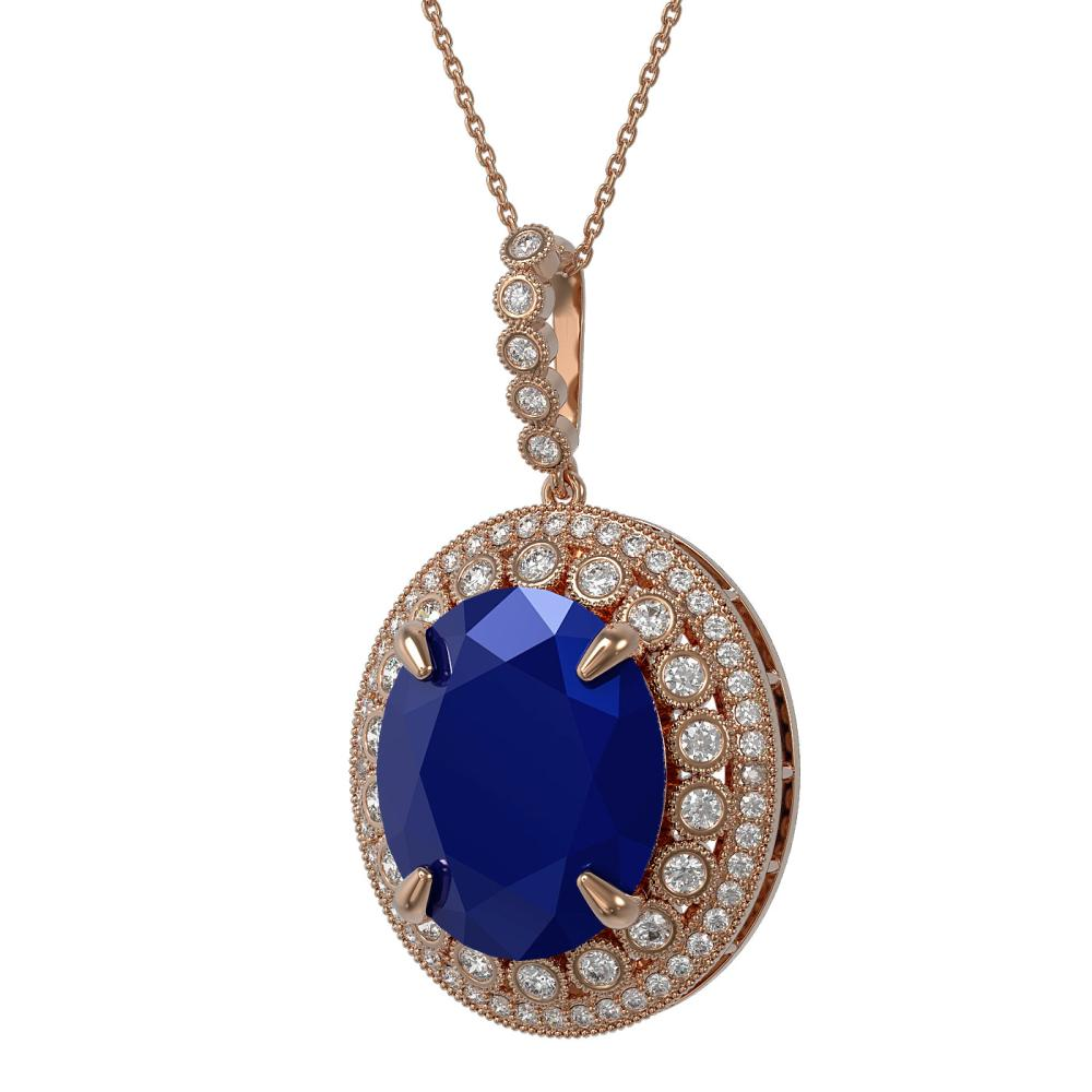28.98 ctw Sapphire & Diamond Necklace 14K Rose Gold - REF-408A2V - SKU:43926