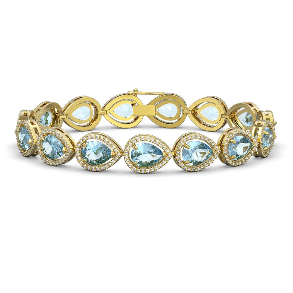 19.85 ctw Aquamarine & Diamond Halo Bracelet 10K Yellow Gold - REF-423V3Y - SKU:41260