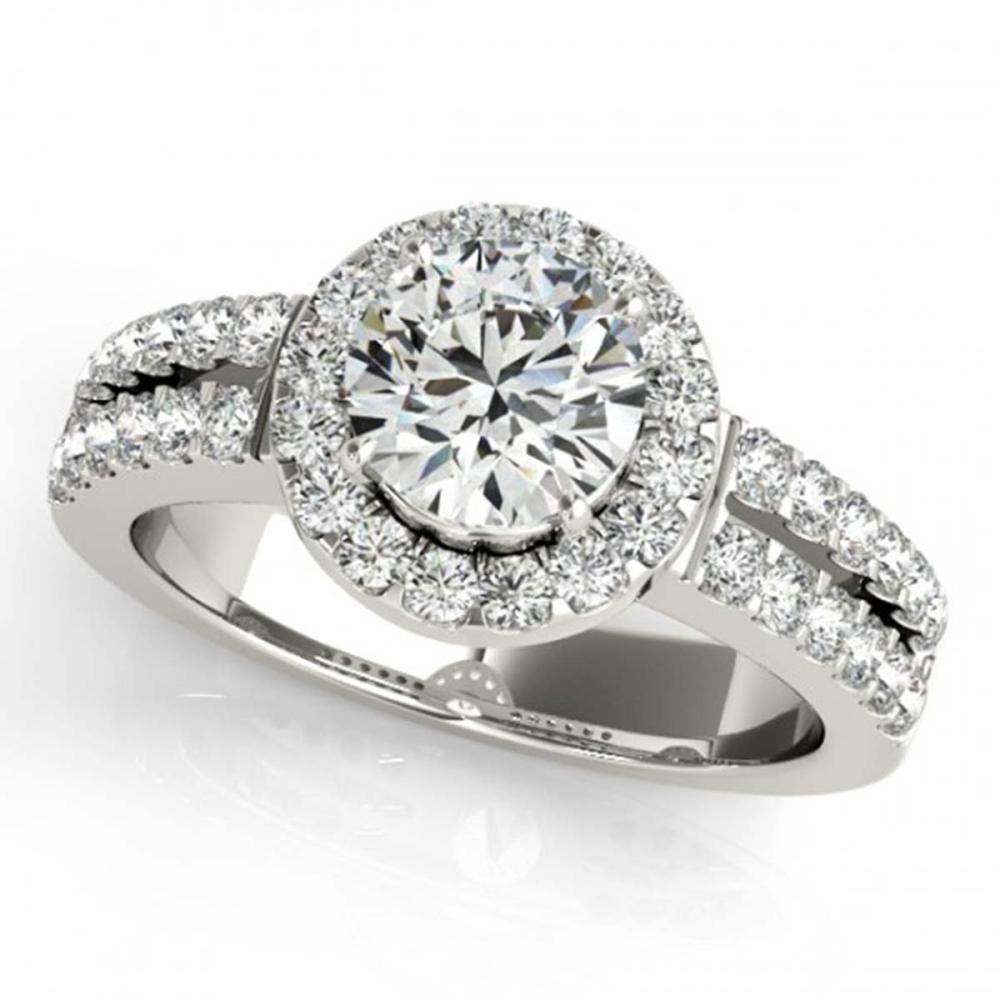 0.85 ctw VS/SI Diamond Halo Ring 18K White Gold - REF-116K6W - SKU:26733