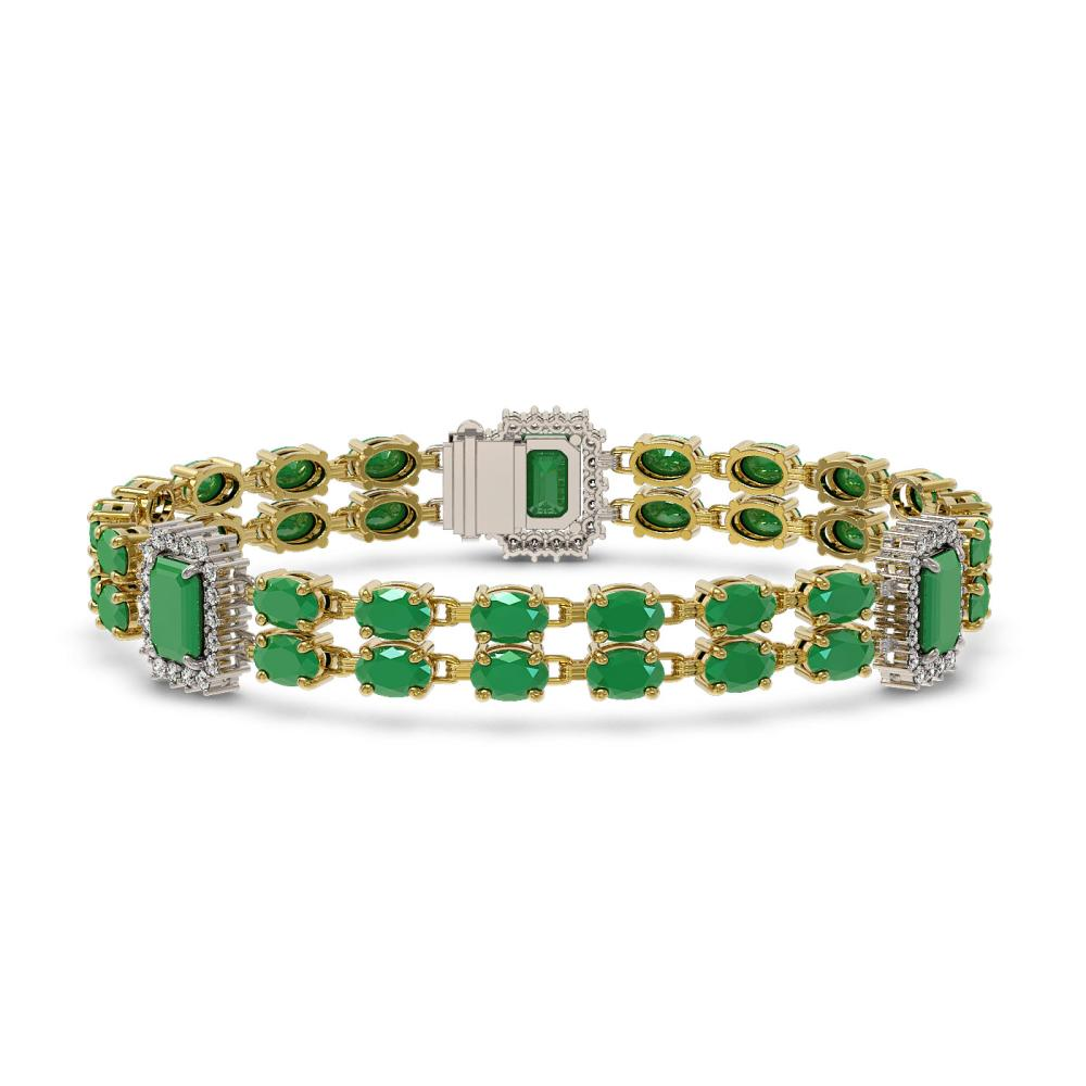 30.83 ctw Emerald & Diamond Bracelet 14K Yellow Gold - REF-321H6M - SKU:45139