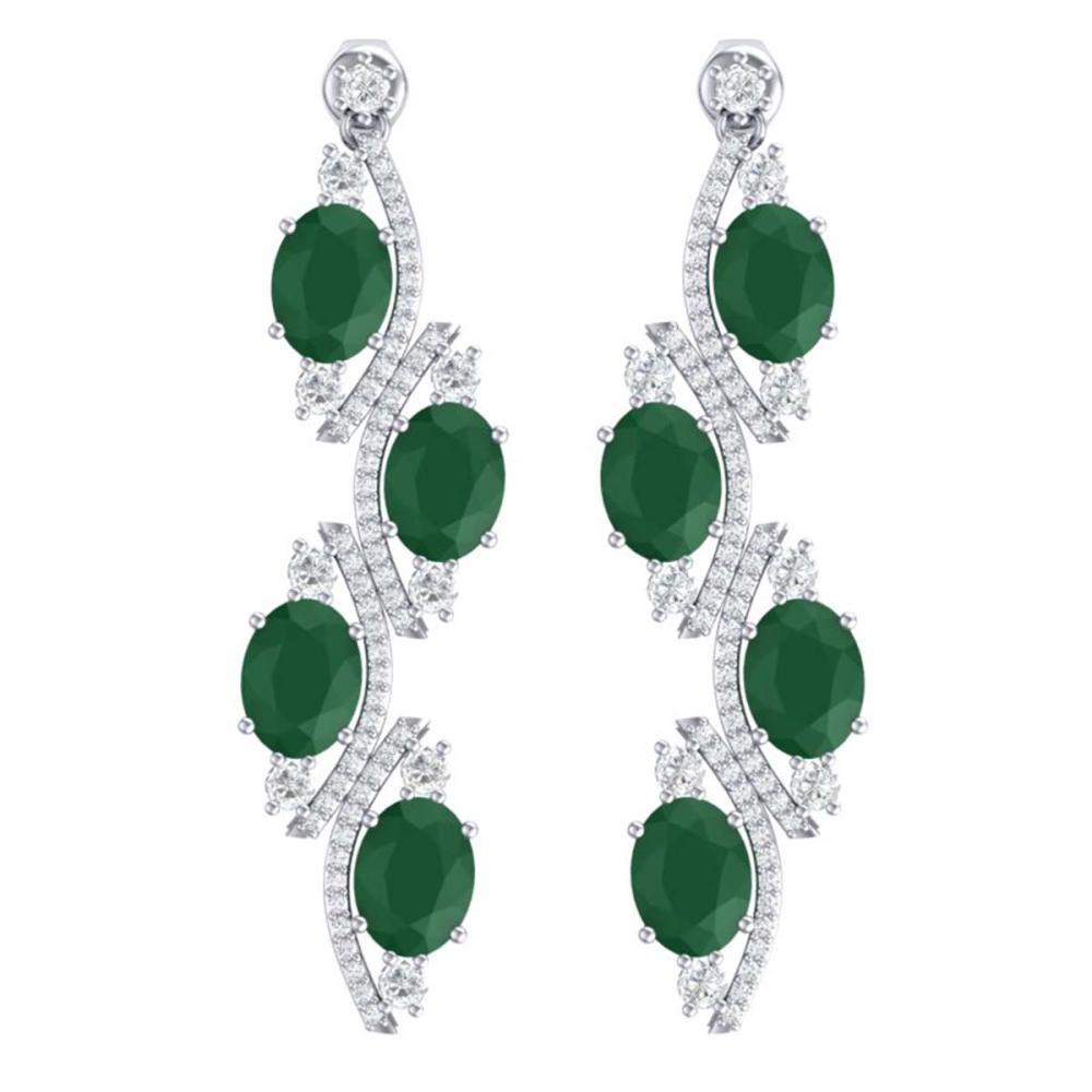 16.12 ctw Emerald & VS Diamond Earrings 18K White Gold - REF-290K9W - SKU:38976
