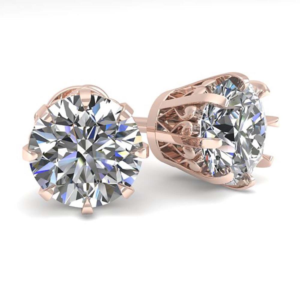 3 ctw VS/SI Diamond Stud Solitaire Earrings 18K Rose Gold - REF-1023W2H - SKU:35696