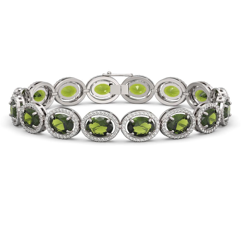 23.6 ctw Tourmaline & Diamond Halo Bracelet 10K White Gold - REF-357V3Y - SKU:40718