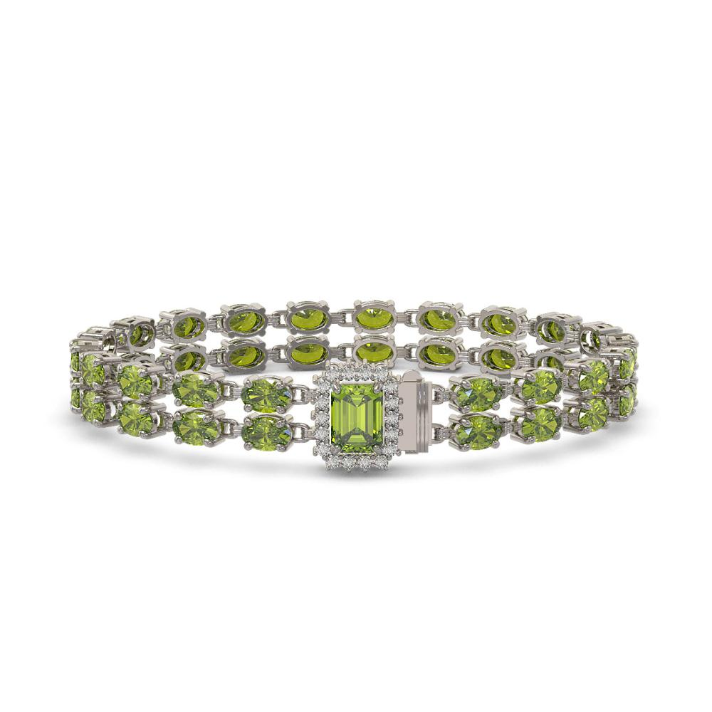 25.96 ctw Tourmaline & Diamond Bracelet 14K White Gold - REF-288H2M - SKU:45785