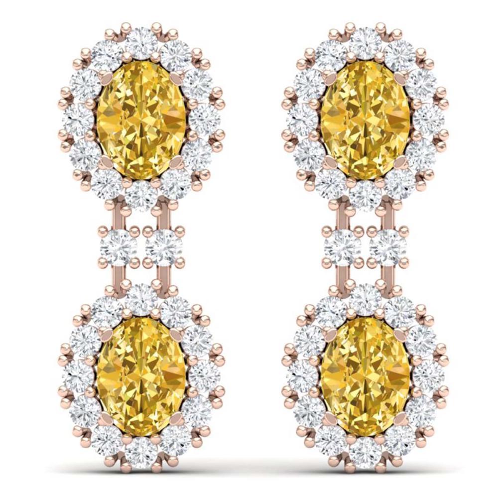 7.8 ctw Canary Citrine & VS Diamond Earrings 18K Rose Gold - REF-180K2W - SKU:38824
