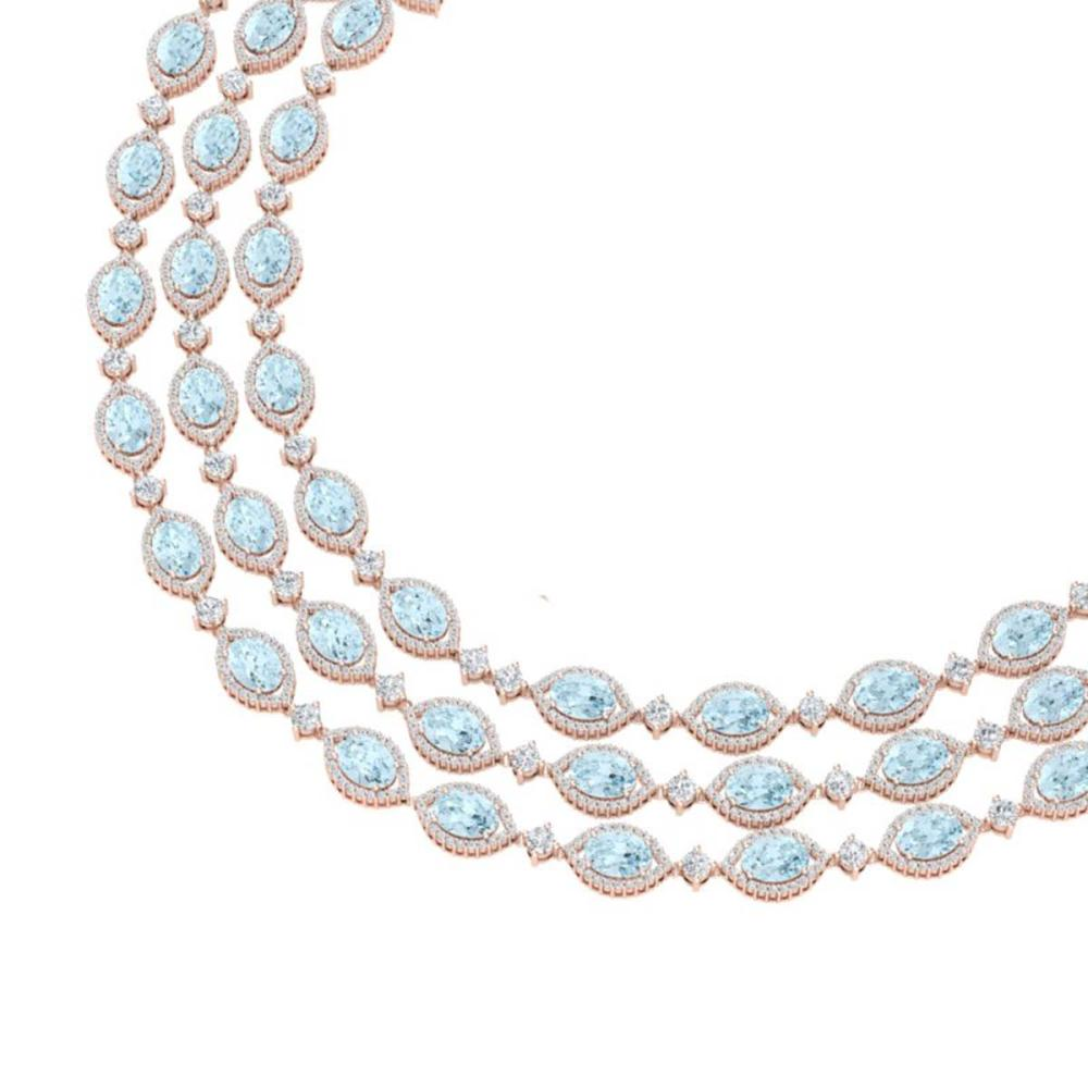 84.57 ctw Sky Topaz & VS Diamond Necklace 18K Rose Gold - REF-1436A4V - SKU:38953