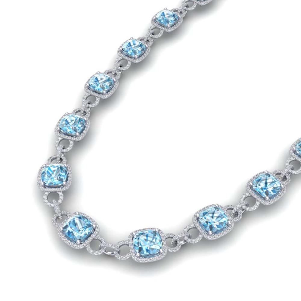 66 ctw Topaz & VS/SI Diamond Necklace 14K White Gold - REF-805V3Y - SKU:23052