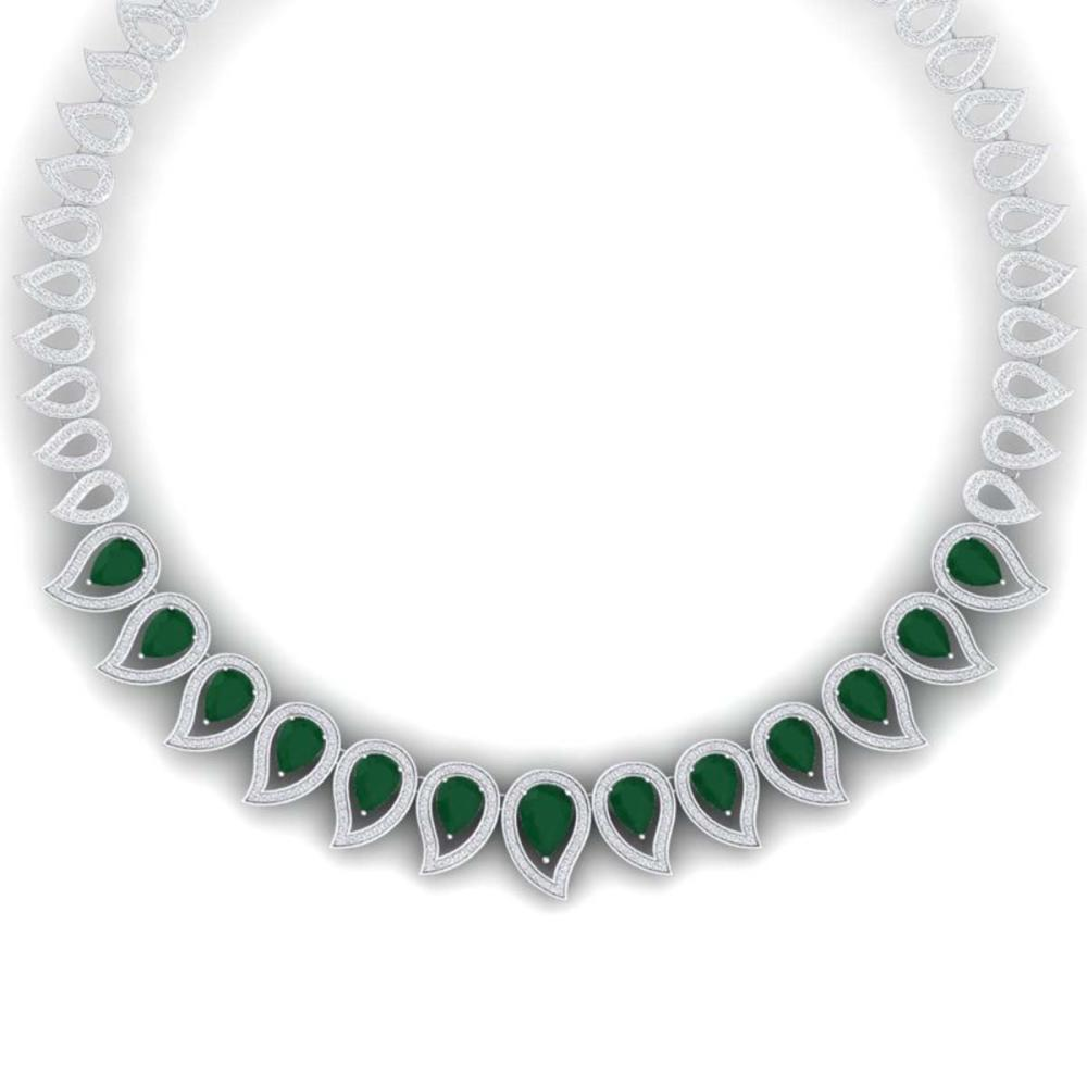 33.4 ctw Emerald & VS Diamond Necklace 18K White Gold - REF-1236N4A - SKU:39435