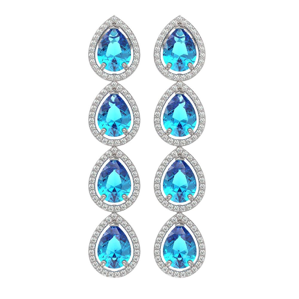 10.8 ctw Swiss Topaz & Diamond Halo Earrings 10K White Gold - REF-172N7A - SKU:41315
