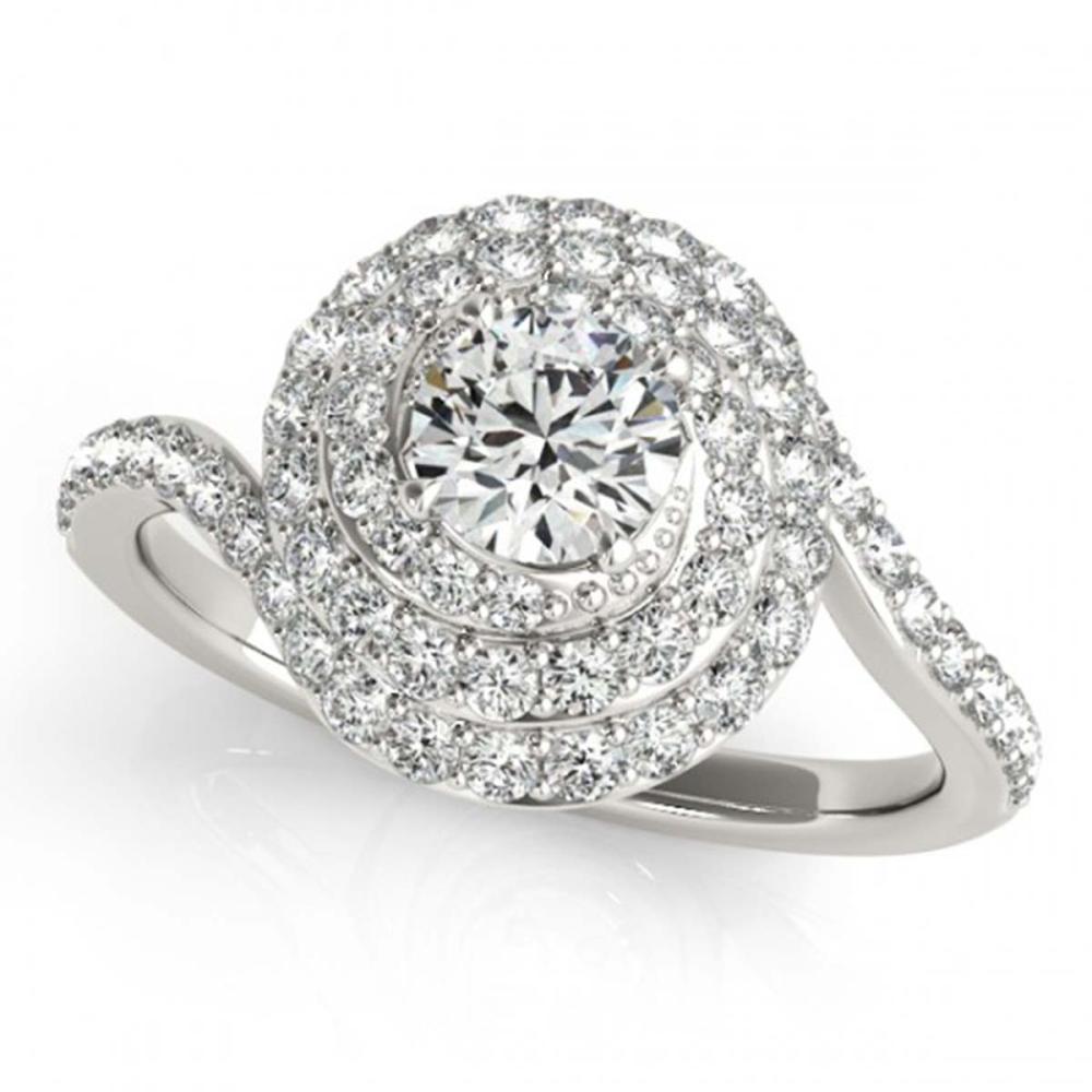 1.33 ctw VS/SI Diamond Halo Ring 18K White Gold - REF-117M5F - SKU:27045